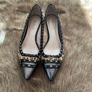 DKNY heels animal print studded
